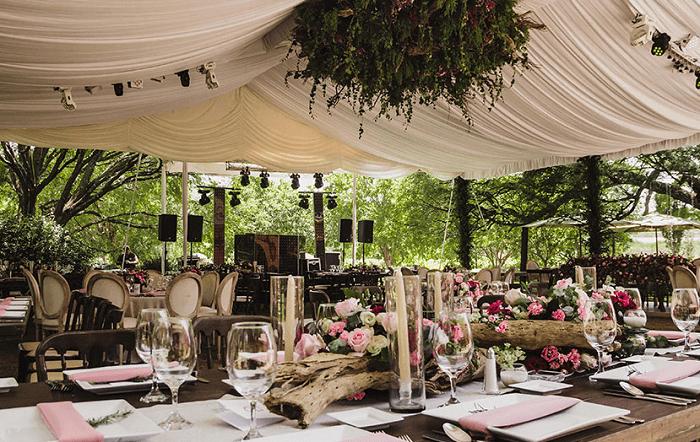 Banquete de bodas en viñedos