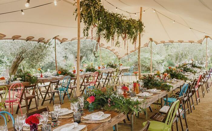 decoracion de mesas en bodas en el campo