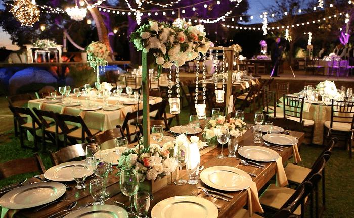 Iluminación para bodas en viñedos